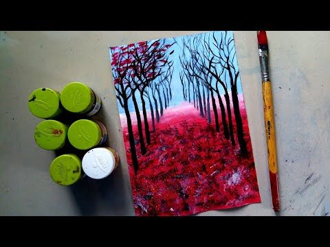 Easy Poster Colour Painting For Beginners Lilith Painting Magazine In 2020 Poster Color Painting Autumn Scenery Painting