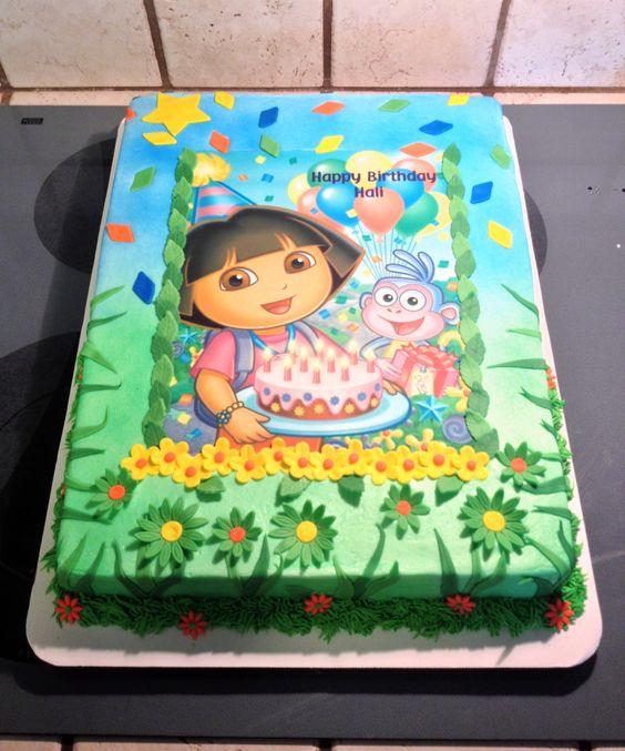 Cake Design Dora L Exploratrice : Dora the Explorer sheet cake :) Ideas para una fiesta ...