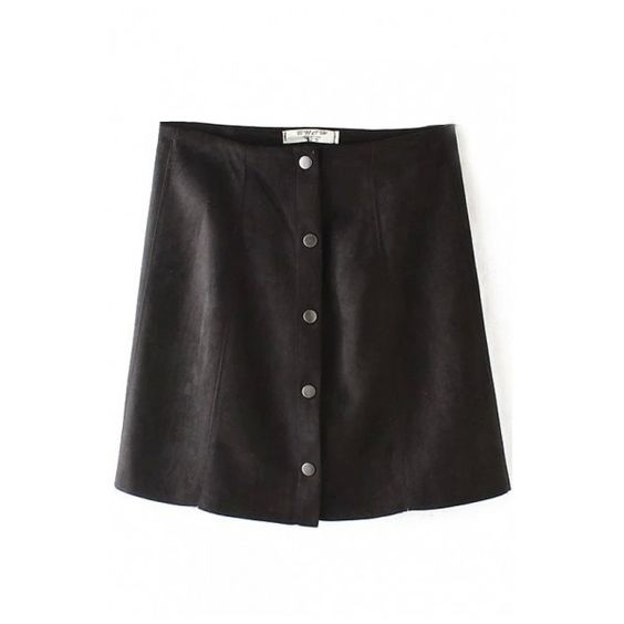 Plain High Waist Single-Breasted A-Line Mini Skirt (€17) ❤ liked on Polyvore featuring skirts, mini skirts, mini skirt, high waisted mini skirt, high rise skirts, a line mini skirt and a line skirt