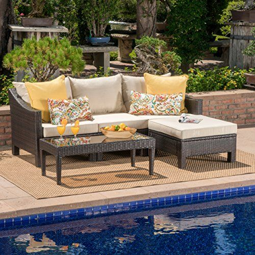 Caspian Outdoor L Shaped Multibrown Wicker Sectional Sofa Set With