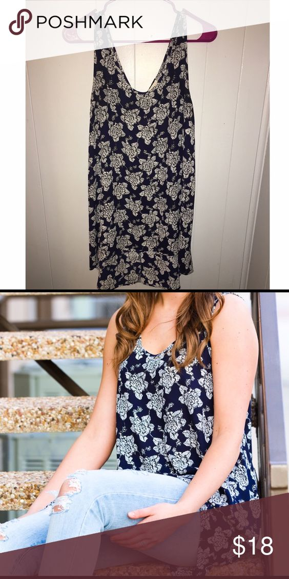 Navy blue flowy blouse This top is very long!! I'm 5'7 and it comes down to my mid thigh in the back and just below the pelvic area in the front. It's not overwhelming long or anything though. Perfect for a comfy yet cute spring look. painted threads  Tops Blouses