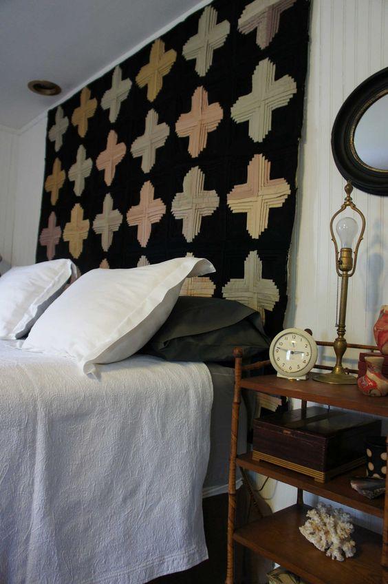 Antique Quilt used as Headboard #bedroom #headboard #quilt
