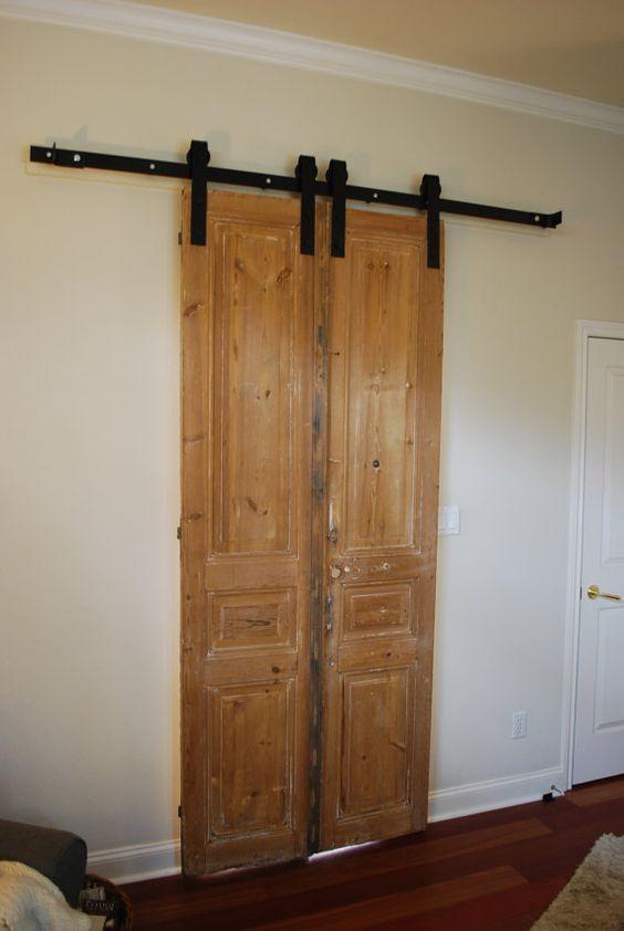 Double door sliding barn door hardware pocket doors for Master bathroom pocket door