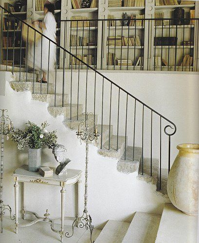 Stairway Railing Ideas: White Interiors, Simple And Rough Cut