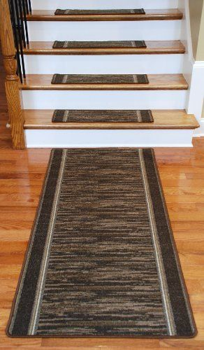 Washable Non-Skid Carpet Stair Treads - Boxer Chocolate (13) PLUS a Matching 5' Runner: http://www.amazon.com/Washable-Non-Skid-Carpet-Stair-Treads/dp/B004SUEPKO/?tag=greavidesto05-20