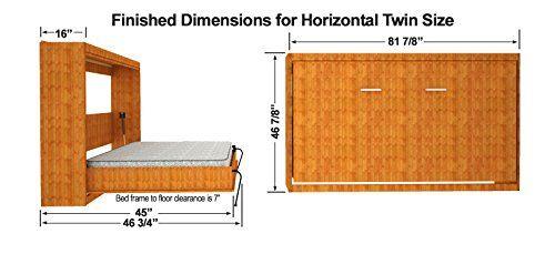Twin Size Easy Diy Murphy Wall Bed Hardware Kit Horizontal Wall Mount Murphy Bed Diy Murphy Bed Plans Murphy Bed Ikea