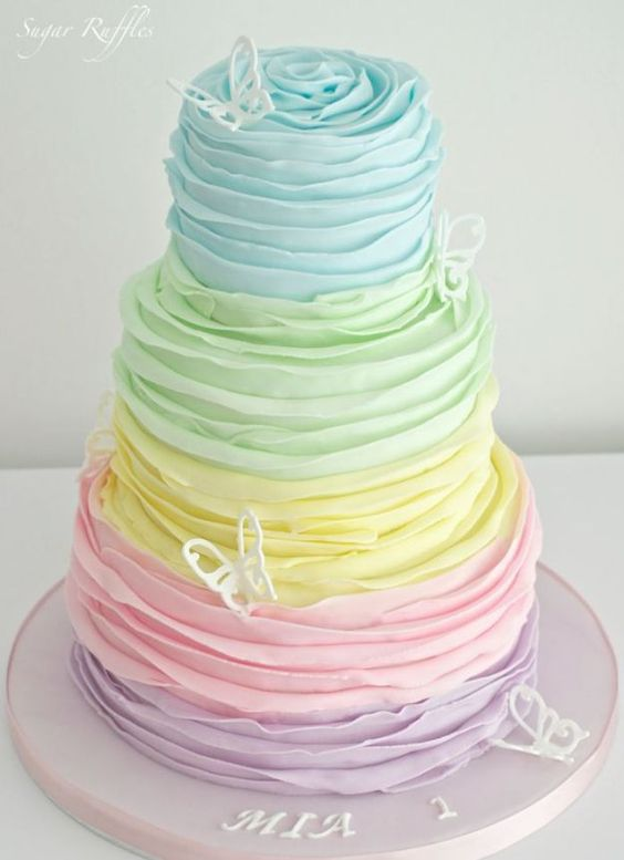 Sweet Colorful Wedding Cake | 15 Stunning Wedding Cakes For A Unique Wedding | Make Your Wedding Extra Special with these Beautiful, Elegant and Creative Cake Ideas | http://homemaderecipes.com/15-stunning-wedding-cakes/