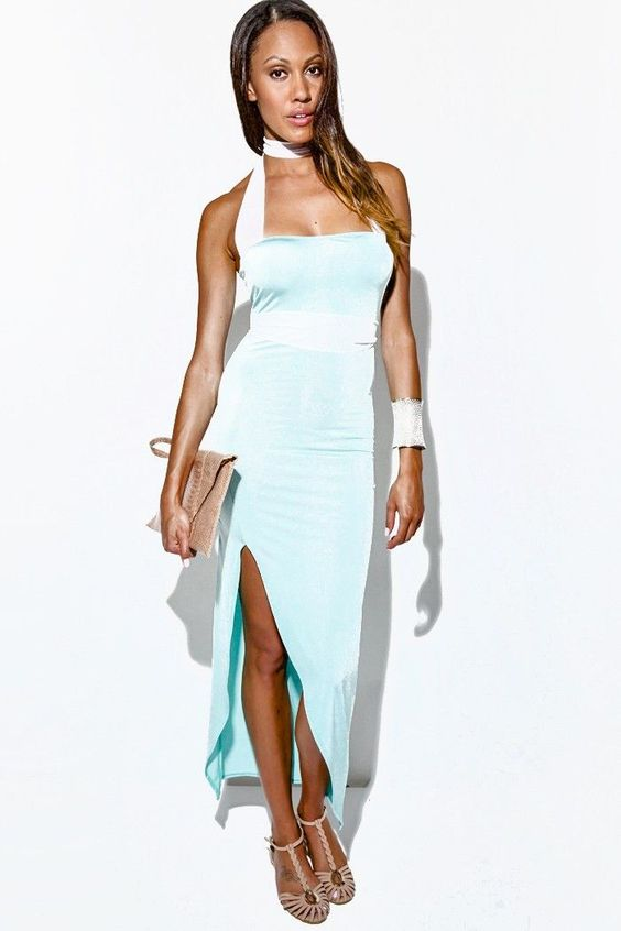mint green/white mesh wrap high slit strapless evening party maxi dress