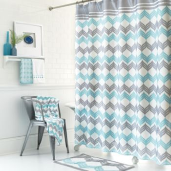 Curtains Ideas cloth shower curtain : Mondrian Chevron Fabric Shower Curtain | Chevron fabric, Chevron ...