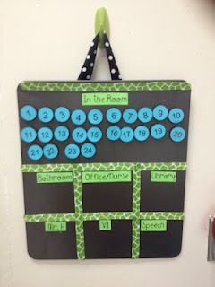 Class Attendance Board--will help you know where students are at all times! Make the numbers pics from the first day of school and the board from a cookie pan from the dollar tree.