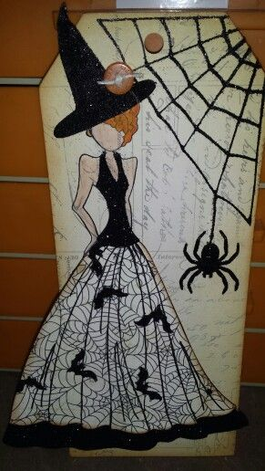 Prima doll Halloween witch tag with black glitter and spider