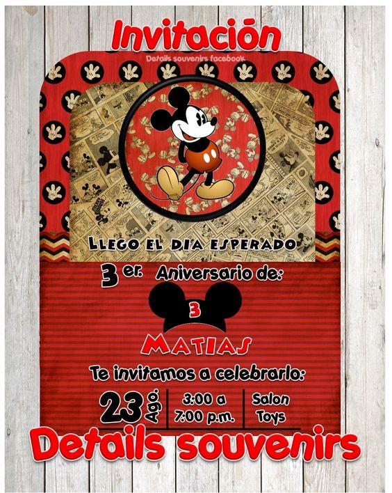 invitación de  Micky Mause vintage diseño y creación de invitaciones DETAILS SOUVENIRS FACEBOOK