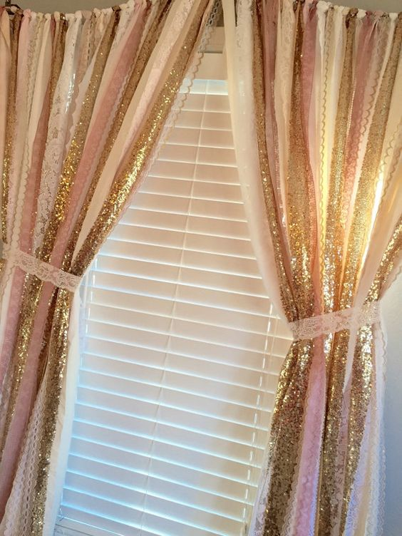 Pink Gold Sparkle Sequin Garland Curtain With Lace