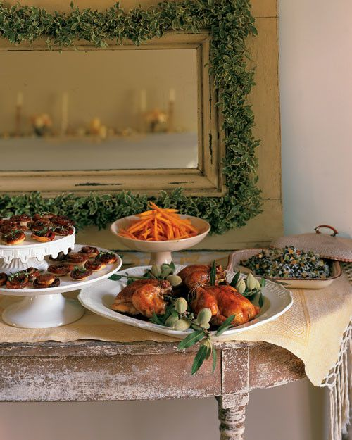 Poussin, a very young chicken, is roast to perfection in this holiday meal. Serve alongside buttered carrots, caramelized onion tartlets, and a trio of festive desserts -- and for an added holiday bonus, sip a cup of eggnog.   beverage Cooked Custard Eggnog Ramos Gin Fizz appetizer Spicy Pecans main Roast Poussin with Prunes and Thyme side Rice Pilaf with Almonds and Dried Pears Buttered Carrots Caramelized Onion Tartlets dessert Seven Swans A-Swimming Gingerbread Cupcakes O...