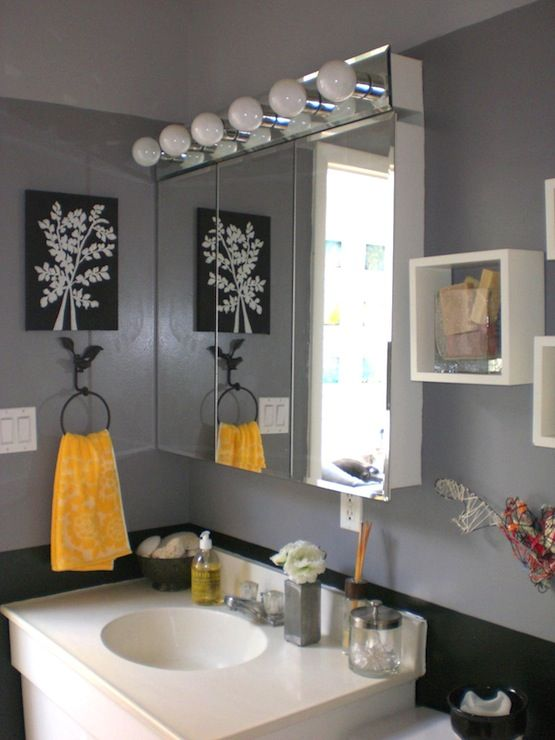 Bathrooms bathroom grey gray yellow black my for Yellow and black bathroom ideas