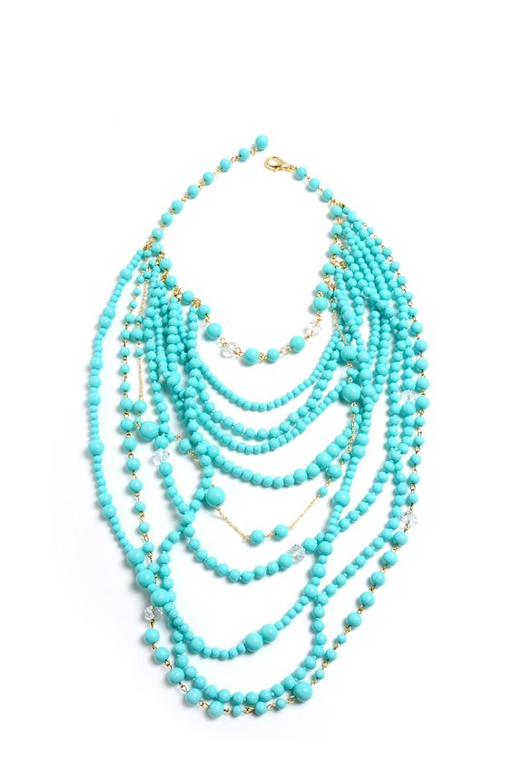"23"" necklace, long layers, light blue resin beads, silver not gold"