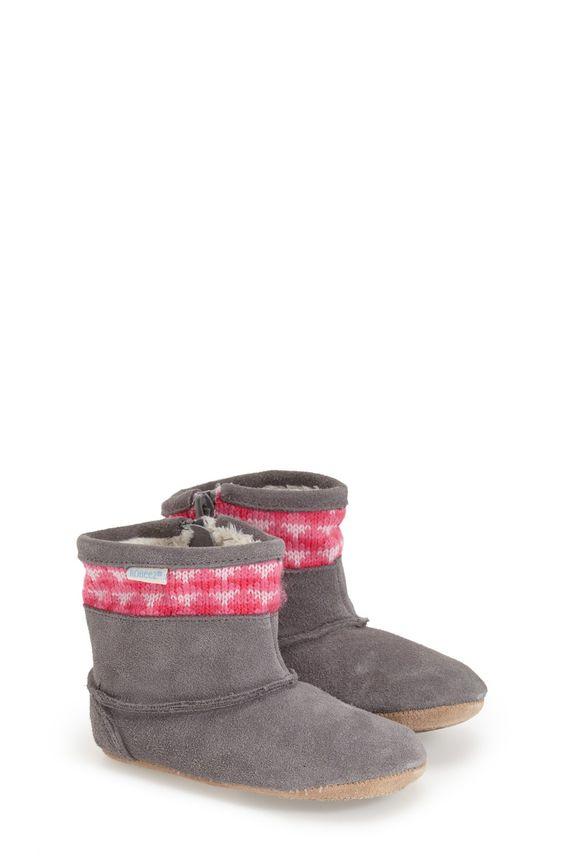 'Mini Shoez - Knitted Kelly' Boot Crib Shoe (Baby & Walker)