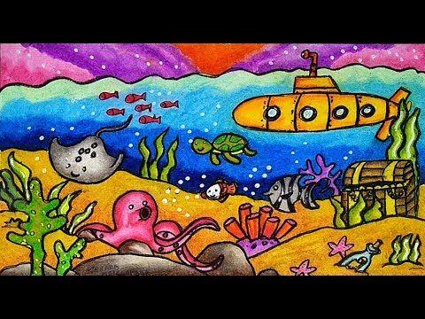 Cara Menggambar Dan Mewarnai Pemandangan Bawah Laut Yang Bagus Dan Mudah Youtube Gambar Pemandangan Cara Menggambar