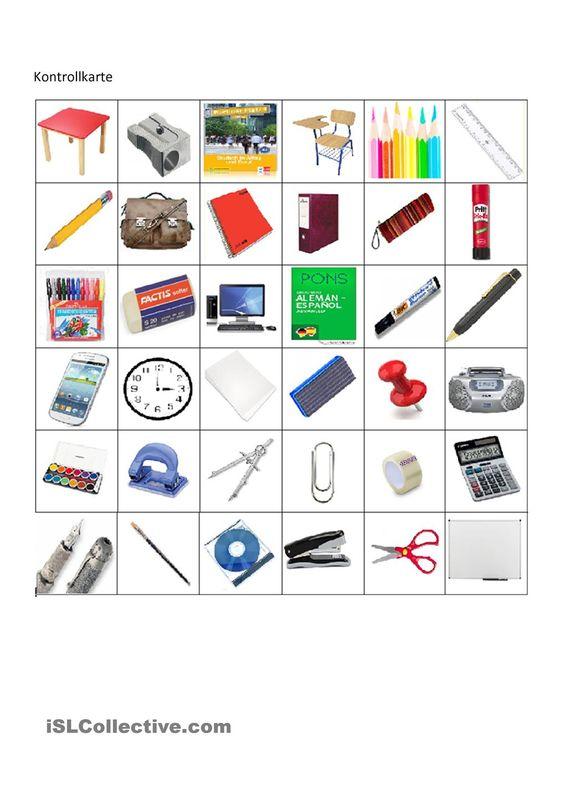 Schulsachen Bingo