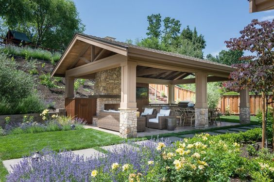 Detached Covered Patio Traditional With Outdoor Fireplace In Gas