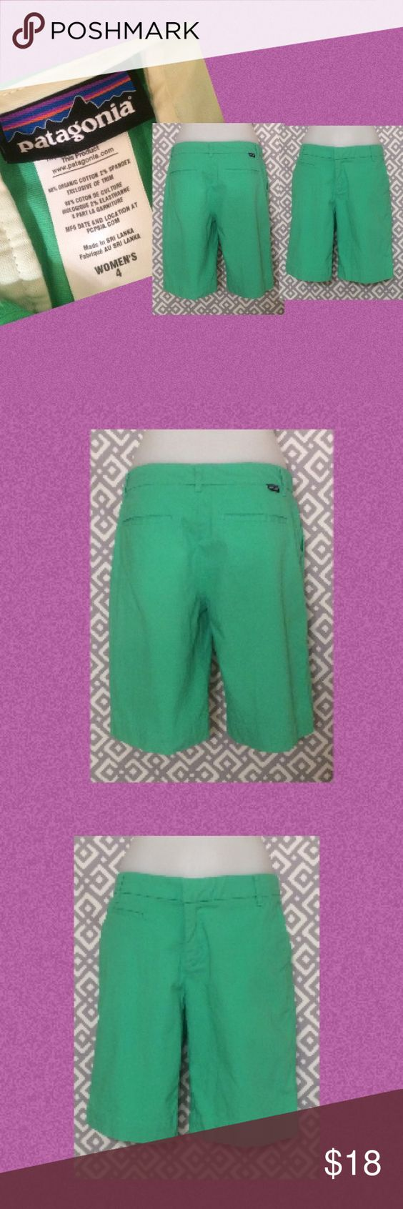 """Patagonia green shorts, 4 Green women's shorts; inseam is 10"""" and length from top to bottom is 18 inches. Patagonia Shorts"""