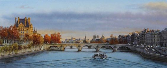 """By Thierry Duval, from Paris - Original Watercolor; 85 x 37 cm - [from his Gallery """"Paris""""]"""