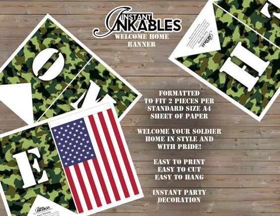 Show your pride! Print this Military/Army WELCOME HOME bunting for when your favorite soldier returns! Features American Flags. Simply print out