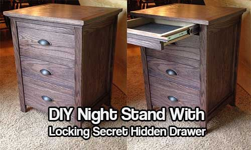 diy night stand with locking secret hidden drawer best crafts on pinterest pinterest. Black Bedroom Furniture Sets. Home Design Ideas
