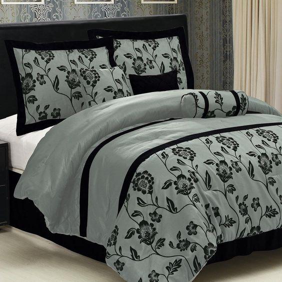 LaCozee Aqua Blue Flocking Comforter Set