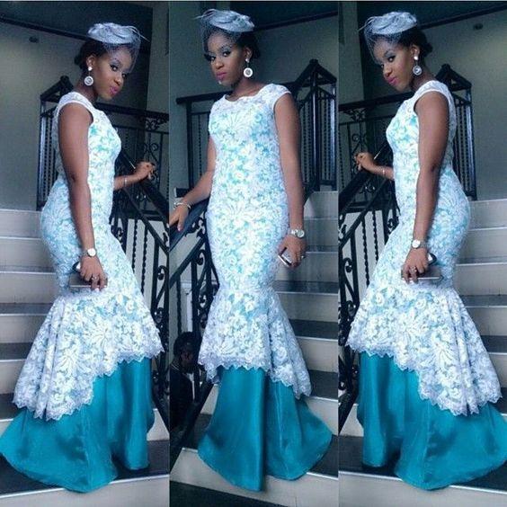 Nigerian wedding white & blue aso-ebi colors::