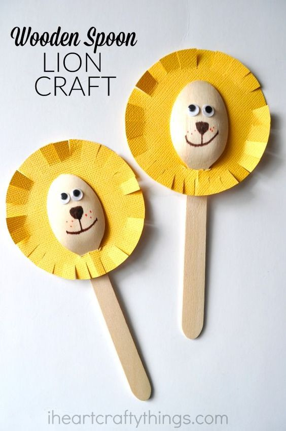 Lion craft wooden spoons and simple crafts for kids on for Wooden spoons for crafts