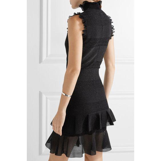 Alexander McQueen Ruffled metallic stretch silk-blend mini dress (243570 RSD) ❤ liked on Polyvore featuring dresses, ruffle dress, metallic cocktail dress, flutter-sleeve dress, mini dress and ruffle mini dress