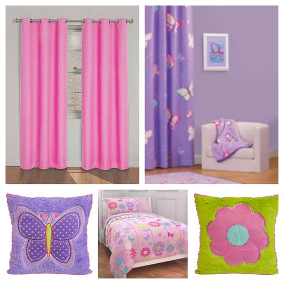 Color palette purple wall pink curtains and bedding for Orange and purple walls