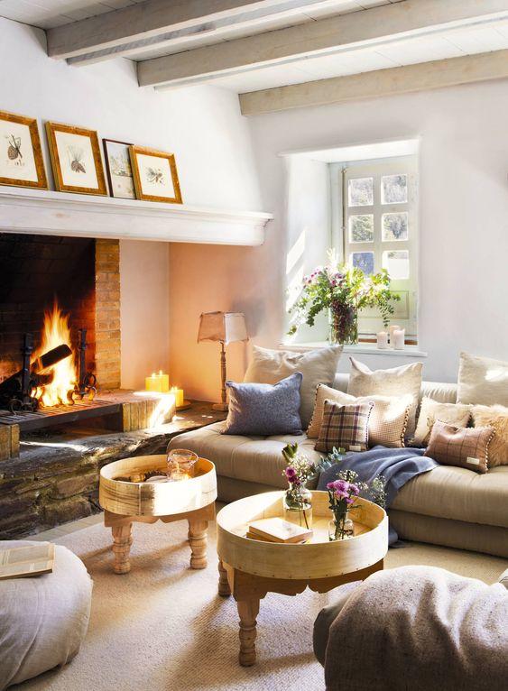 Salotto bianco casa colonica moderna boho soggiorno, design per il. Quale Arredamento Vicino Al Camino Questioni Di Arredamento