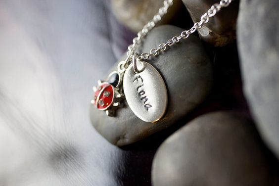 Hey, I found this really awesome Etsy listing at https://www.etsy.com/listing/197642627/sale-personalized-ladybug-name-necklace