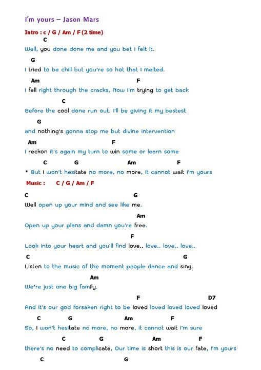 Iu0026#39;m Yours Ukulele Chords : ukulele i m yours jason mars : DIY ideas : Pinterest : Lyrics of ...