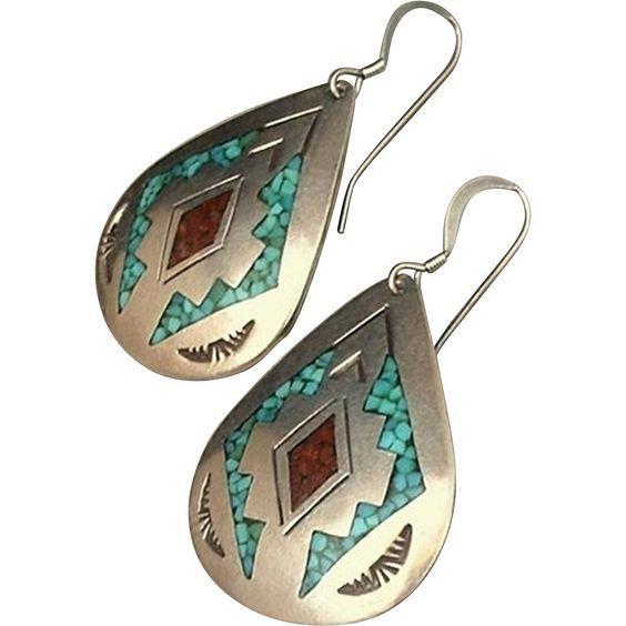 CHARLIE SINGER Large Vintage Native American NAVAJO Earrings Turquoise Coral…