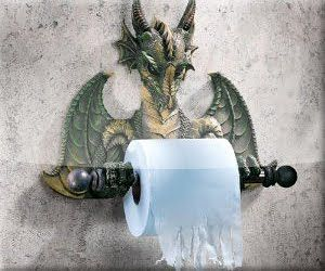 dragon toilet paper holder.. ever vigilant in guarding the commode