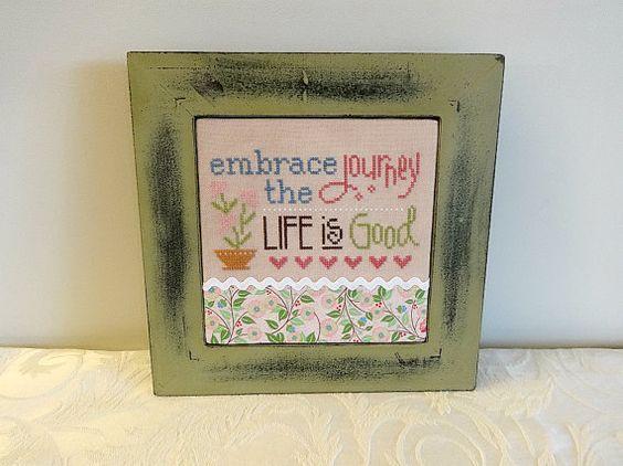 Framed Cross Stitch, Finished Cross Stitch, Completed Cross Stitch, Cross Stitch Sampler, Words of Wisdom, Framed Art, Embrace the Journey