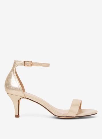 Gold Sunset Kitten Heel Sandals Gold Sandals Heels Gold Kitten Heels Sandals Heels