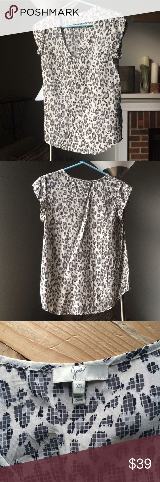 Joie graphic leopard print silk blouse Flowy and basically sleeveless, bought from Bloomingdales Joie Tops Blouses