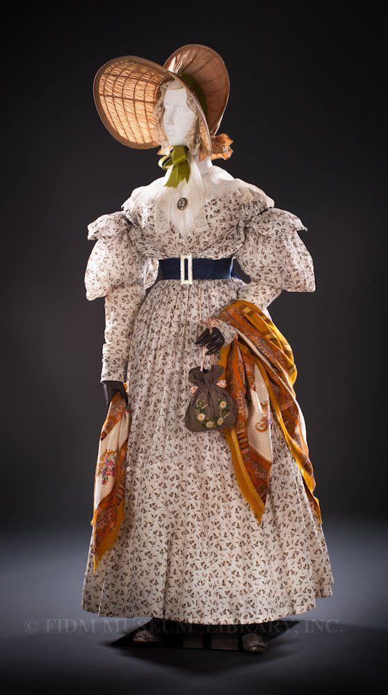 1830's dress and bonnet: