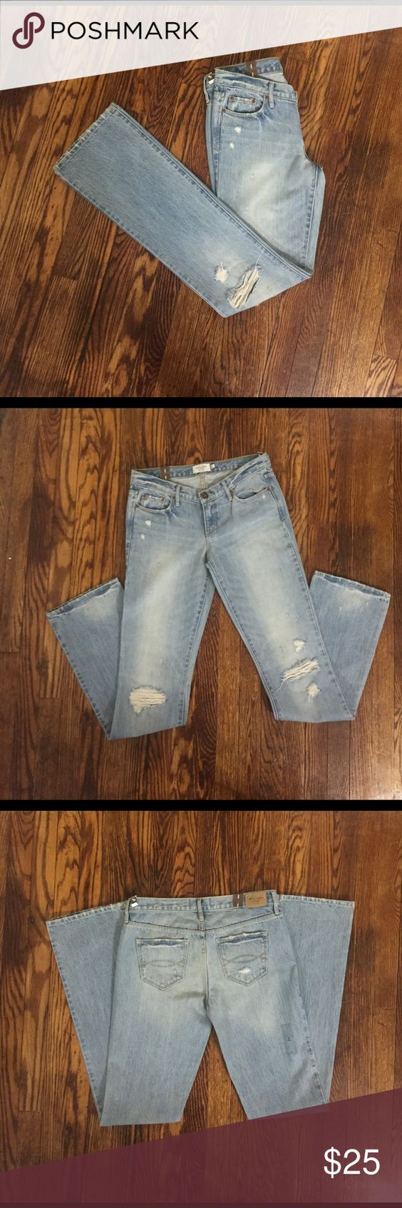 Abercrombie & Fitch NWT Emma Boot Cut Jeans Super cute distressed style jeans!                                         Inseam- 34 1/2 inches; Length- 43 inches; size-4 Long Abercrombie & Fitch Jeans Boot Cut