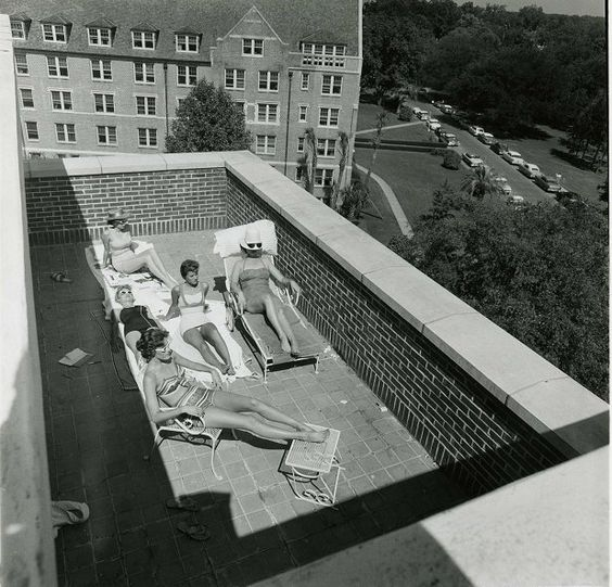 vintage FSU ladies tanning at the dorms!