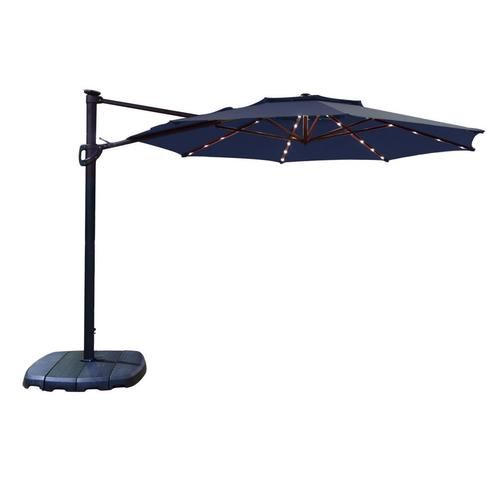 Simply Shade Simply Shade 11 Ft Navy Led Cantilever At Lowe S Simply Shade 11 Ft Octagon Cantilever With Black Al In 2020 Outdoor Sun Shade Shades Blue Fabric Pattern