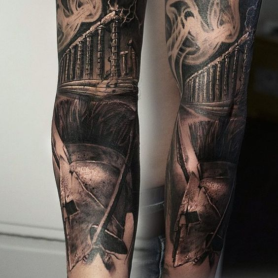 Black and grey tattoo sleeve bdout ancient greece for Black and grey sleeve tattoos