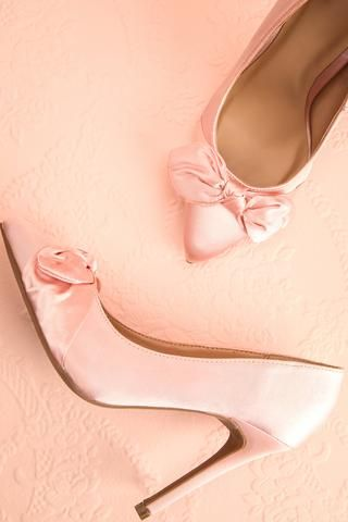 Laura Pétale Pink Satin Bow Stilettos | Boutique 1861