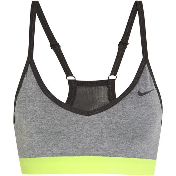 Nike Pro Indy stretch-jersey sports bra, Women's, Size: S ($38) ❤ liked on Polyvore featuring activewear, sports bras, sport, tops, underwear, grey, nike, nike sportswear, neon activewear and neon sports bra