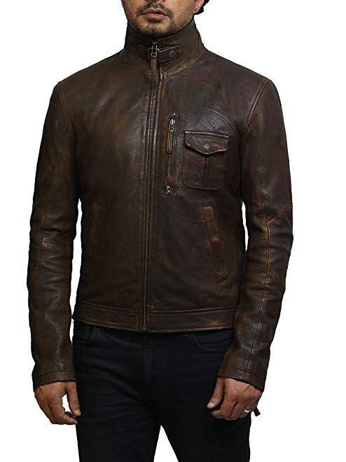 Brandslock Mens Genuine Leather Biker Jacket Hooded Vintage