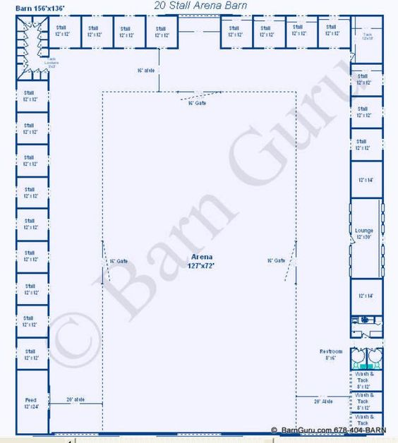 20 Stall Arena Horse Barn Design Plan Awesome Idea To